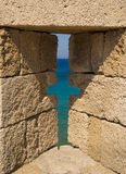 Fortifications and battlements of the medieval city, Rhodes Royalty Free Stock Photography