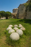 Fortifications and battlements of the medieval city, Rhodes Stock Photos