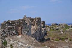 Fortifications de mur de centre urbain, château de Methoni photographie stock libre de droits