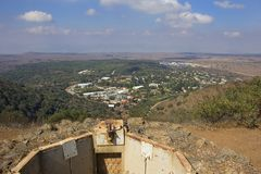 Fortifications on the Golan Heights and a view from above of Mount Bental. Stock Photography