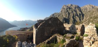The fortifications of Kotor panorama Stock Photography
