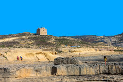 Fortifications of Malta - Gozo, Dwejra. 17th-century coastal watchtower on the west coast of the island - Dwejra, Gozo, Malta Royalty Free Stock Photography