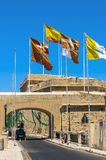 Fortifications of Malta - Three Cities. Old fortifications in the historic Città Vittoriosa, medieval base of the Order of Saint John and main city of Malta Royalty Free Stock Images