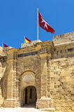 Fortifications of Malta - Three Cities. Old fortifications in the historic Città Vittoriosa, medieval base of the Order of Saint John and main city of Malta Stock Image