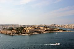 Fortifications of Manoel Island, Malta, view from the sea. Magnificent view of several cities on the coast of the island of Malta. The medieval fortifications royalty free stock photography