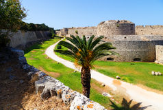 Fortifications of Medieval Castle of the Knights in Rhodes, Greece. Stock Photo