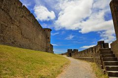 Fortifications in the medieval city of Carcassonne Stock Photos
