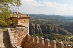 Fortifications of medieval monastery in Alquezar. Spain Royalty Free Stock Photos