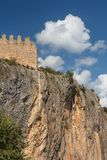 Fortifications of medieval monastery in Alquezar. Spain Royalty Free Stock Photo