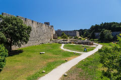 Fortifications of the Old Town of Rhodes - view of moat and walls, Greece Stock Photo