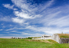 Among the Fortifications of Palmanova. Green fields among the fortifications of Palmanova, Italy Royalty Free Stock Images
