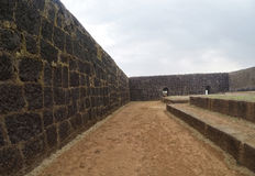 Fortifications of Raigad fort and interior Royalty Free Stock Images