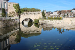 Fortifications are reflected in the Loir River (France) Royalty Free Stock Photo