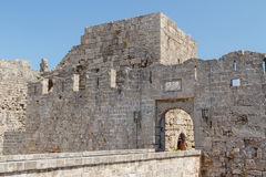 Fortifications of Rhodes UNESCO Heritage town on Rhodes island Stock Images