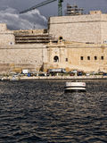Fortifications round the Grand Harbour on the island of Malta. Valletta the capital city of Malta in the setting sun Stock Image