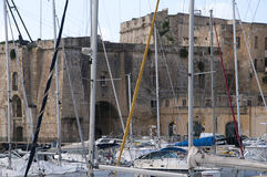 Fortifications round the Grand Harbour on the island of Malta. Valletta the capital city of Malta in the setting sun Stock Photo