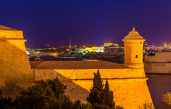 Fortifications of Valletta at night Stock Image