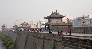 Fortifications of Xian (Sian, Xi'an) an ancient capital of China Stock Image