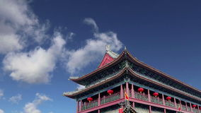 Fortifications of Xian Sian, Xi`an an ancient capital of China stock video footage