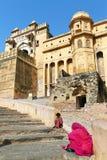 Fortificazione ambrata a Jaipur Fotografia Stock