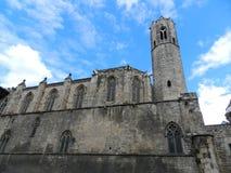 Fortificazione antica nella vecchia città a Barcellona Fotografie Stock Libere da Diritti