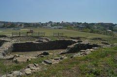 Fortificazione di Castro De La Lanzada In The dell'eremo in La Lanzada in Noalla Natura, architettura, storia 19 agosto 2014 Noal immagini stock