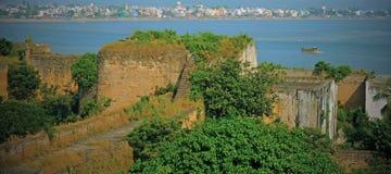 Fortificazione di Diu che trascura il Mar Arabico, India Fotografia Stock