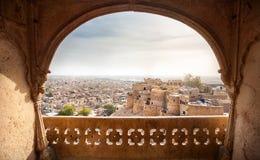 Fortificazione di Jaisalmer e vista della città Immagini Stock