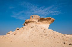 Fortificazione nel deserto di Zekreet del Qatar, Medio Oriente Fotografie Stock