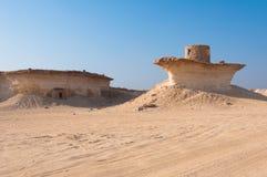 Fortificazione nel deserto di Zekreet, Qatar, Medio Oriente Fotografie Stock Libere da Diritti