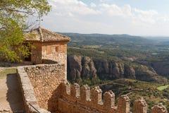 Fortificazioni del monastero medievale in Alquezar Fotografie Stock Libere da Diritti
