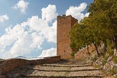 Fortificazioni del monastero medievale in Alquezar Fotografie Stock