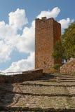 Fortificazioni del monastero medievale in Alquezar Immagini Stock