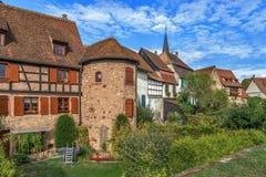Fortificazioni di Bergheim, l'Alsazia, Francia Fotografia Stock
