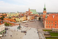 Fortifichi il quadrato nella vecchia città di Varsavia, vista da sopra Fotografia Stock