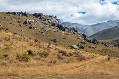 Fortifichi la collina in alpi del sud, Arthur& x27; la s passa, isola del sud della Nuova Zelanda Fotografie Stock