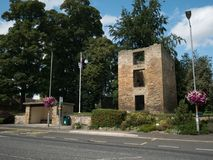 Fortified 14th Century Vicar`s Pele Tower in Ponteland, England. stock image