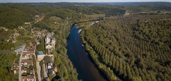 The fortified Chateau Montfort on the Dordogne River, Vitrac, France stock images