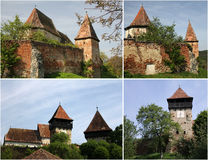 Fortified Church - Alma Vii (collage). Medieval fortified church surrounded by walls, at Alma Vii, Romania Royalty Free Stock Images