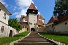 Fortified church of Bazna. Transylvania, Romania royalty free stock photo