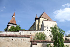 Fortified Church - Biertan. Medieval fortified church surrounded by walls, at Biertan, Romania Stock Images