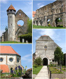 Fortified Church - Carta (collage). Medieval fortified church surrounded by walls, at Carta, Romania Stock Photos