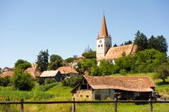 The fortified church from Cincu, Brasov County, Romania. View of the fortified church from Cincu, Brasov County, in Transylvania, Romania stock photography