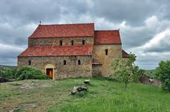 Fortified Church in Cisnadioara, Romania. The Saint Michael Church is typical of the Saxon basilicas built in the vicinity of Sibiu. The Church at Cisnadioara stock images
