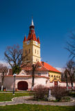 Fortified church in Cristian Brasov stock photography