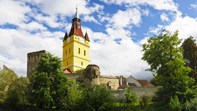 Fortified church in Cristian (Neustadt). Panorama with fortified church in Cristian (Neustadt), Transylvania, Romania Stock Images