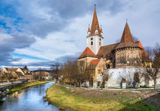 Fortified church of Cristian,Sibiu, Romania. The fortified church of Cristian, Romania, near Sibiu. Southeastern Transylvania in Romania has one of the highest Stock Images