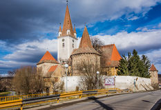 Fortified church of Cristian,Sibiu, Romania royalty free stock image