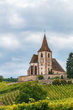 Fortified Church in Hunawihr, Alsace, France Stock Photography