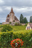 Fortified Church in Hunawihr, Alsace, France Stock Images